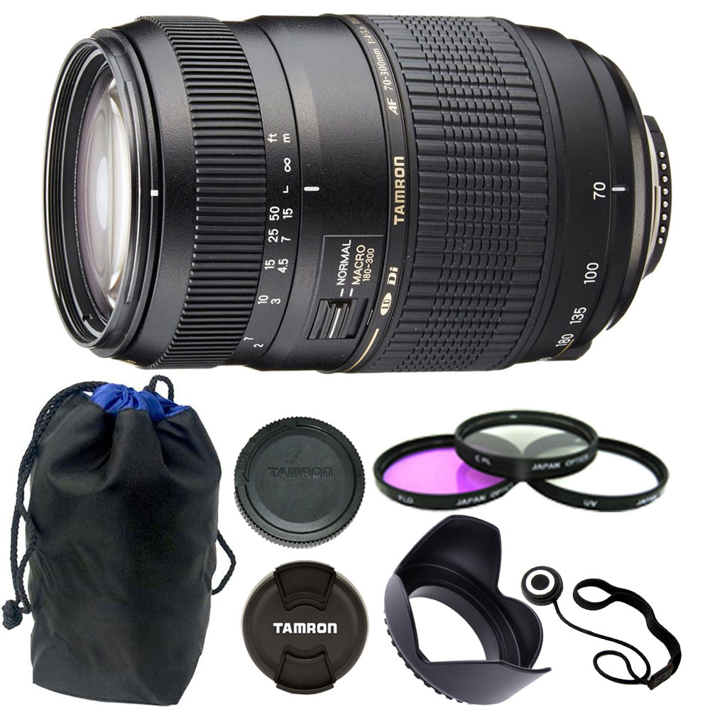 Tamron 70-300mm f/4-5.6 Di LD Macro Autofocus Lens for Nikon + 62mm Accessories