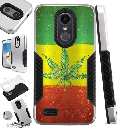 For LG Q7 (2018) | LG Q7 Plus (2018) Case Hybrid TPU Carbon Slim Guard Phone Cover (Weed Nation