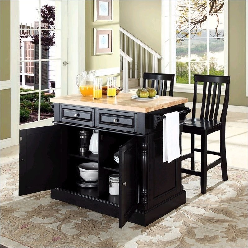 Crosley Oxford Butcher Block Top Kitchen Island with Stools in Black - image 3 of 4