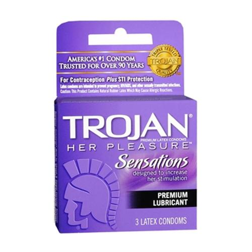 TROJAN Her Pleasure Condoms Lubricant Latex 3 Each (Pack of 3)