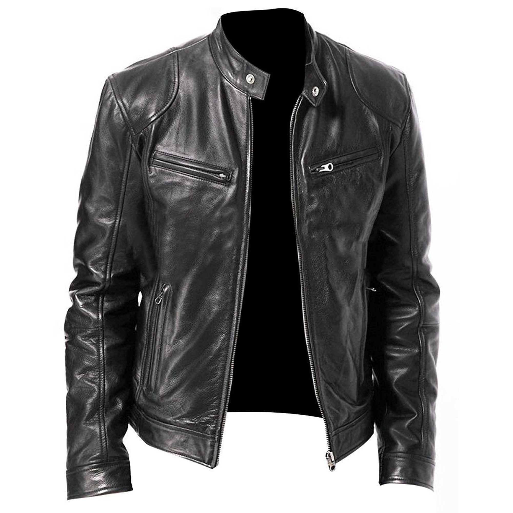 Men Genuine Lambskin Leather White Motorcycle Jacket Slim fit Biker Jacket Coat