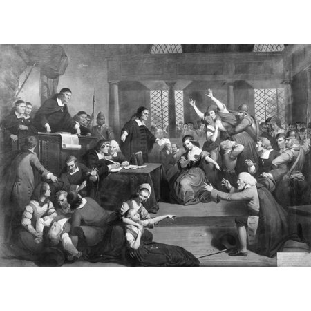 Salem Witch Trials 1692 Nthe Trial Of George Jacobs At Salem For Witchcraft Oil On Canvas By Tompkins Harrison Matteson  1813 1884  Rolled Canvas Art     18 X 24