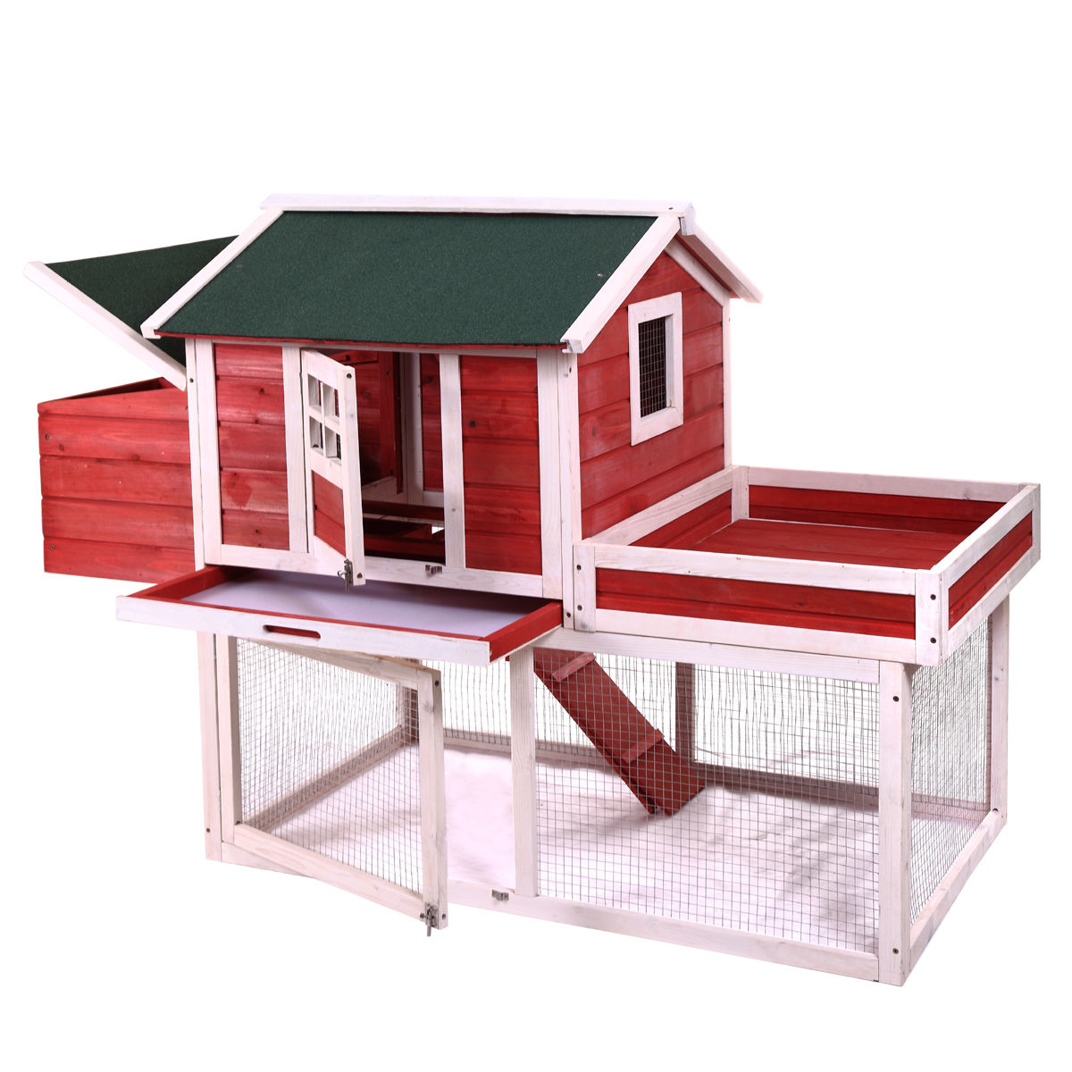"""Jaxpety 65"""" Wooden Deluxe Poultry Cage Rabbit Hutch Chicken Coop Hen House Backyard by"""