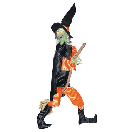 Fun Express - Leg Kicking Witch With Broom for Halloween - Home Decor - Decorative Accessories - Home Accents - Halloween - 1 Piece - Kick Buttowski Halloween