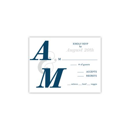 Personalized Wedding RSVP - Modern Monogram - 4.25 x 5.5 Flat ()
