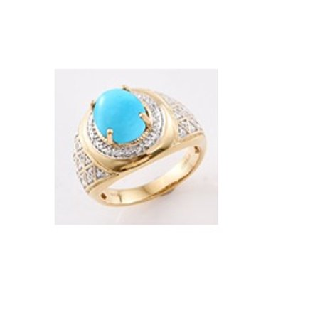 Turquoise Yellow Ring (SLEEPING BEAUTY TURQUOISE, Cambodian Zircon Yellow Gold Over Sterling Silver Ring (Size 11) TGW 3.230 Cts. TGW 3.23 Cts.)
