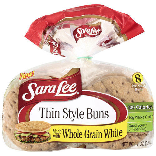 Sara Lee Thin Style White Whole Grain Buns, 12 oz, 8ct