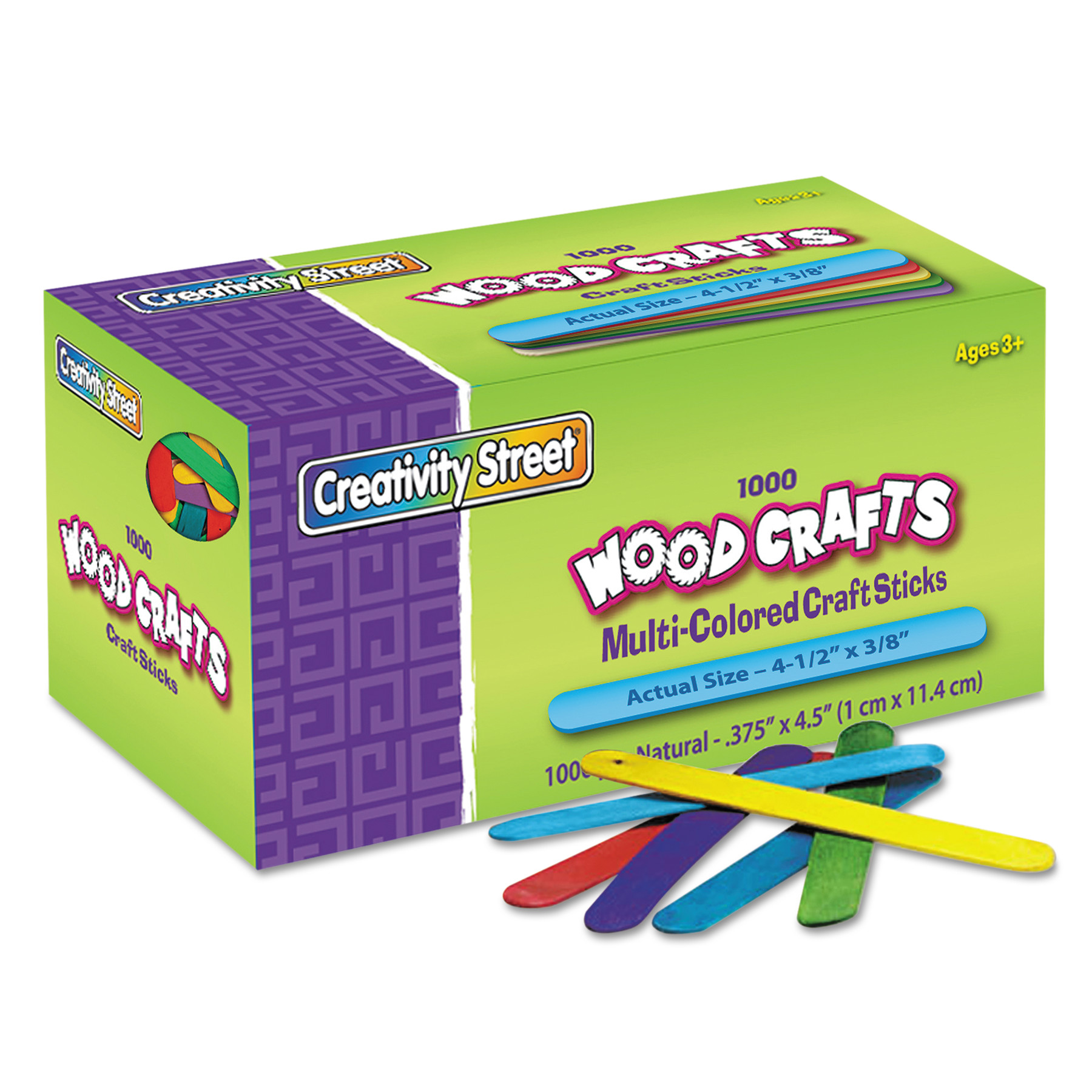Chenille Kraft Colored Wood Craft Sticks, 4 1/2 x 3/8, Wood, Assorted, 1000/Box