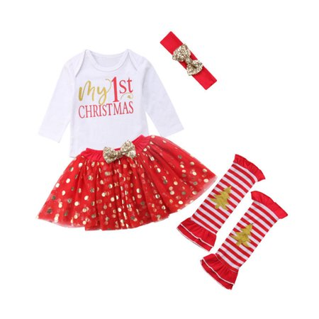 Emmababy - Newborn Baby Girls My 1st Christmas Costume Romper Bodysuit Headband Leg Warmer Tutu Dress up 4pcs Xmas Party Outfits - Walmart.com