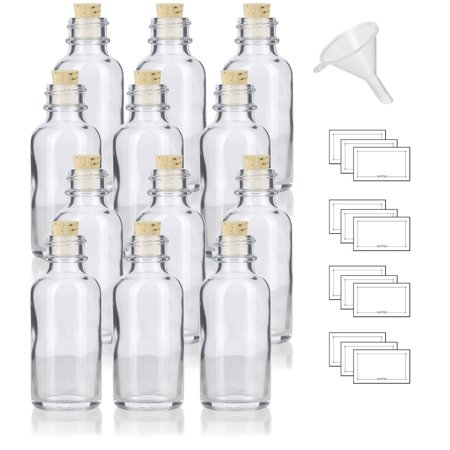1 oz Clear Glass Boston Round Bottle with Cork Stopper Closure (12 Pack) + Funnel and Labels