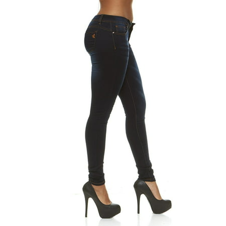 CG Couture Slim Fit Skinny Jeans for Women Low Rise Plus Size 16W Black Denim
