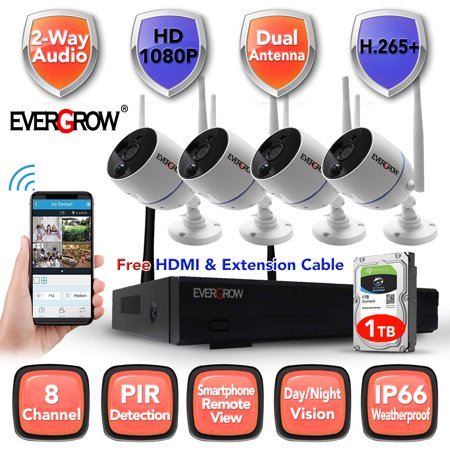 2020 H265+ 8CH 1080P Long Range WIFI CCTV System HDMI NVR 4PCS 2.0 MP IR Outdoor P2P Home Wireless IP Camera Security System Surveillance Kit with 1TB Hard Drive Disk (CAM-WIFI-4CH-2MP-10) Hidden Surveillance System