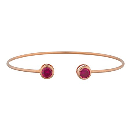 14Kt Rose Gold Plated Created Ruby Round Bezel Bangle Bracelet 14k Rose Gold Bangle Bracelet