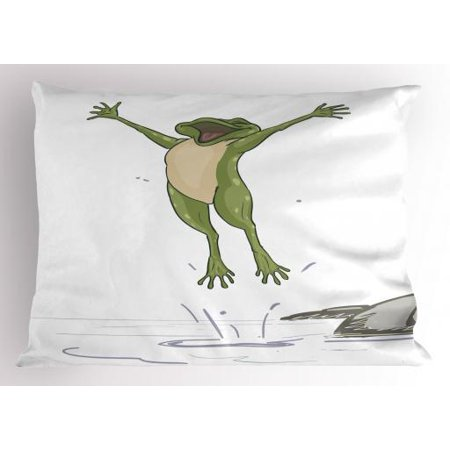 Jumping Frog Water - Frog Pillow Sham Frog Jumping in Excitement in the Water Happy Toad Freedom Relax Lifestyle Humor, Decorative Standard Queen Size Printed Pillowcase, 30 X 20 Inches, Olive Green Grey, by Ambesonne