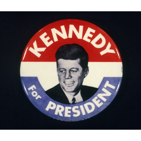 Presidential Campaign 1960 Ndemocratic Button From The 1960 Presidential Campaign Supporting The Election Of John F Kennedy Rolled Canvas Art -  (24 x - Campaign Button