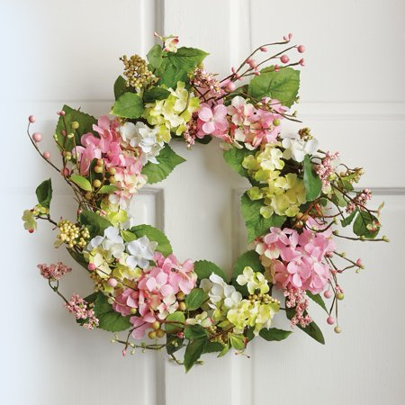 Spring Floral Hydrangea Door Wreath, Multi