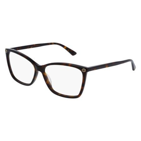 Gucci Sensual Romantic GG0025O Eyeglasses 002 Havana (Gucci Brille Frames Für Frauen)
