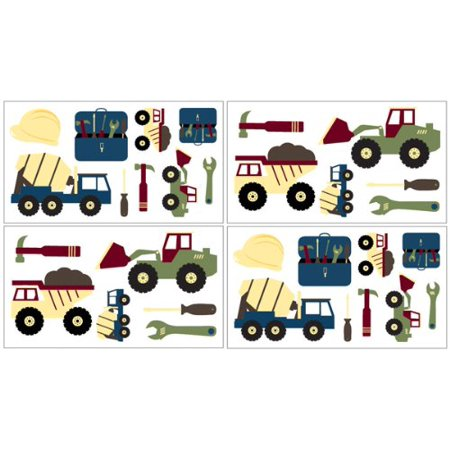 Construction Wall Decal Stickers by Sweet Jojo Designs - Set of 4 Sheets ()
