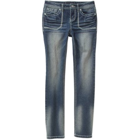 Almost Famous Girls' Flared Leg Jeans with Embellished Back Flap Pockets
