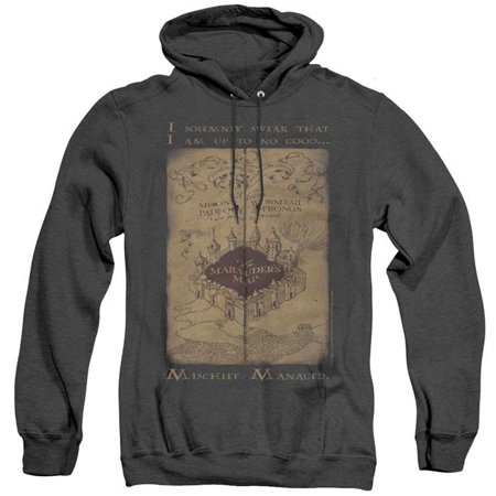 Trevco Sportswear HP8062-AHH-1 Harry Potter & Marauders Map Words Adult Heather Pull-Over Hoodie,  Black - (Marauder's Map Costume)