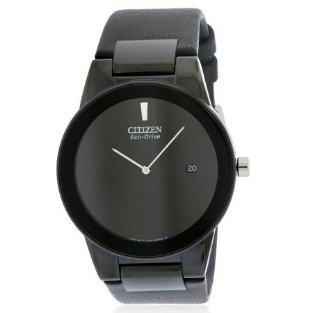 - Citizen Eco-Drive Axiom Black Leather Men's Watch, AU1065-07E