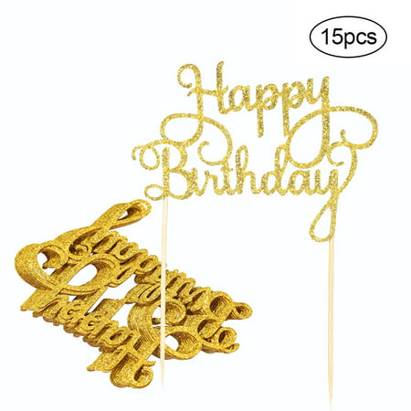 15pcs Glitter Paper Happy Birthday Cake Topper Cupcake Dessert Decoration Supplies for Birthday Party Celebration--Gold](Happy Halloween Birthday Cakes)