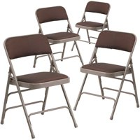 Flash Furniture 4-Pack HERCULES Series Curved Triple Braced and Double Hinged Patterned Fabric Upholstered Metal Folding Chair, Multiple Colors