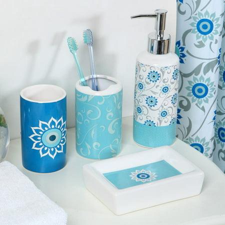 Luxury Home Persian Flower 18 Piece Bathroom Accessory Set
