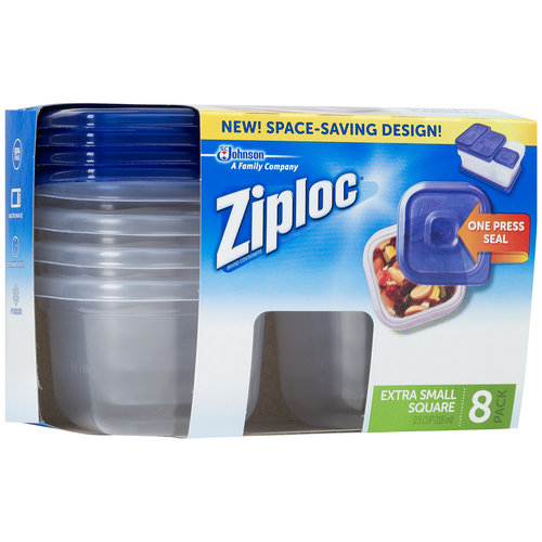 Ziploc brand container with One Press Seal, Extra Small Square, 8 count