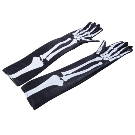 Horror Ghost Claw Gloves Elbow Length Gloves with White Skeleton for Cosplay Show Costume Party Halloween Masquerade - Halloween Block Party Tv Show