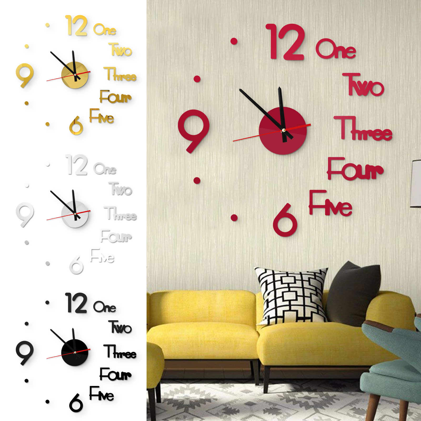 Modern 3D Mirror Wall Clock Acrylic Mirror Wall Sticker Office Living Room Decor