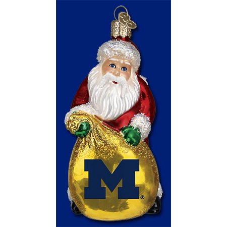 Old World Christmas University of Michigan Wolverines Santa Glass Ornament - Walmart.com