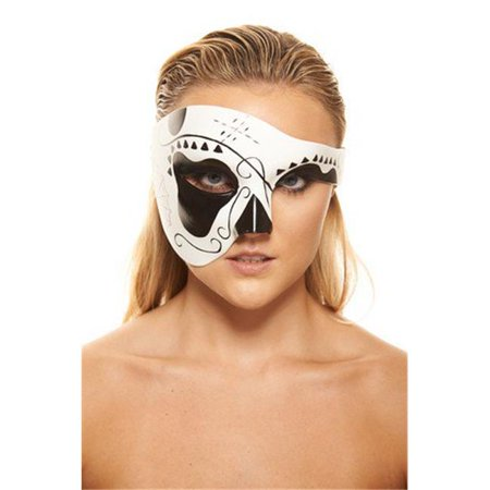 Day of the Dead Black & White Sugar Skull Mask - One Size (Skull Mask Day Of The Dead)