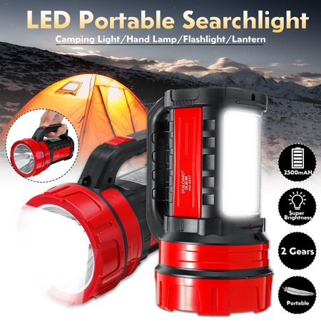 Grtxinshu 2500mAH Portable Scalable LED Searchlight Torch Camping Lights w/Side Lights 800 Lumen LED Spotlight Bright Table Lamp Flashlight Outdoor with side lights High Power