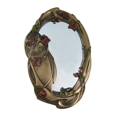 Art Nouveau ROSE GIRL Bronzed Finish Wall Mirror Art Nouveau Bronze Door
