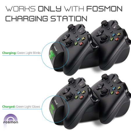Fosmon Xbox One/One S/One X Controller Charger, [Dual Slot] Green LED Indicator High Speed Dual Conductive Docking/Quick Charging Station with 2x1000mAh Long Lasting Rechargeable Battery Packs - Black