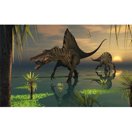 Artists Concept of Spinosaurus Said To Have Been The Biggest Carnivorous Dinosaur That Ever Lived. It is Recognizable by Its Crocodilian Shaped Skull & is Said To Have Lived Mainly Off Fish Poster (Have All 13 Crystal Skulls Been Found)