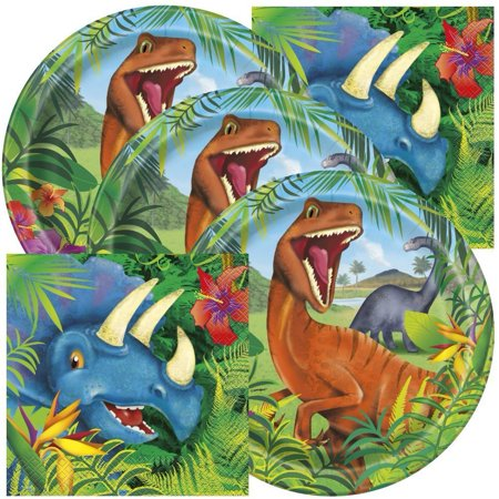 Dinosaur Themed Birthday Party Napkins and Plates (Serves 32)