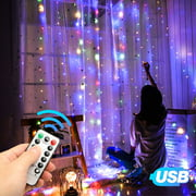 EEEKit Window Curtain String Lights USB Powered 300 LEDs 9.8ft9.8ft,8 Modes USB,Remote Control Fairy String Lights Starry Lights for Wedding Party Bedroom Indoor Outdoor Decorative -Multicolor