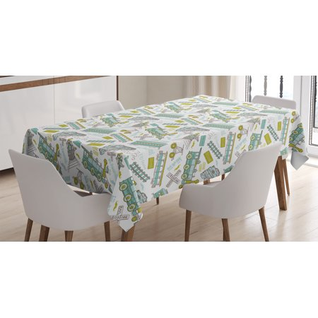 Steam Engine Tablecloth, Choo Choo Train Kids Boy Pattern Blue Green Number Plate Vintage Print, Rectangular Table Cover for Dining Room Kitchen, 52 X 70 Inches, White Green Blue, by Ambesonne](Train Table Cover)