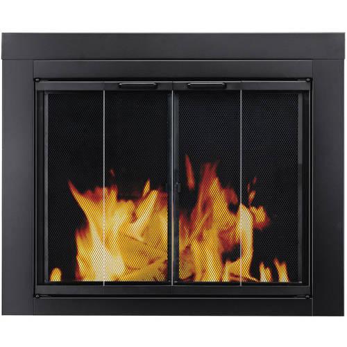 Pleasant Hearth Bi-Fold Style Fireplace Glass Door, Alton Black, Medium, AL-1001