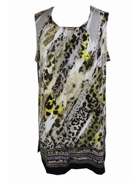 dc6dd388cf2 Product Image Jm Collection Woman Plus Size Olive Beige Spring Print  Sleeveless Keyhole Blouse