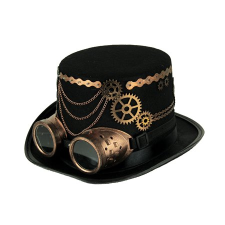 Black Steampunk Top Hat with Copper Colored Gears and Goggles - Collapsible Top Hats