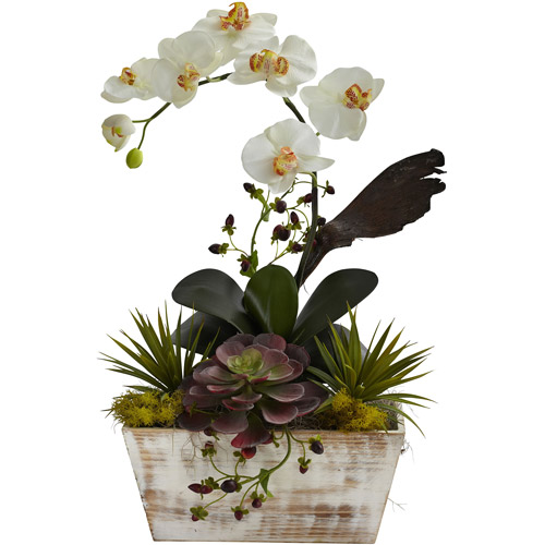 Nearly Natural Orchid and Succulent Garden Silk Flower