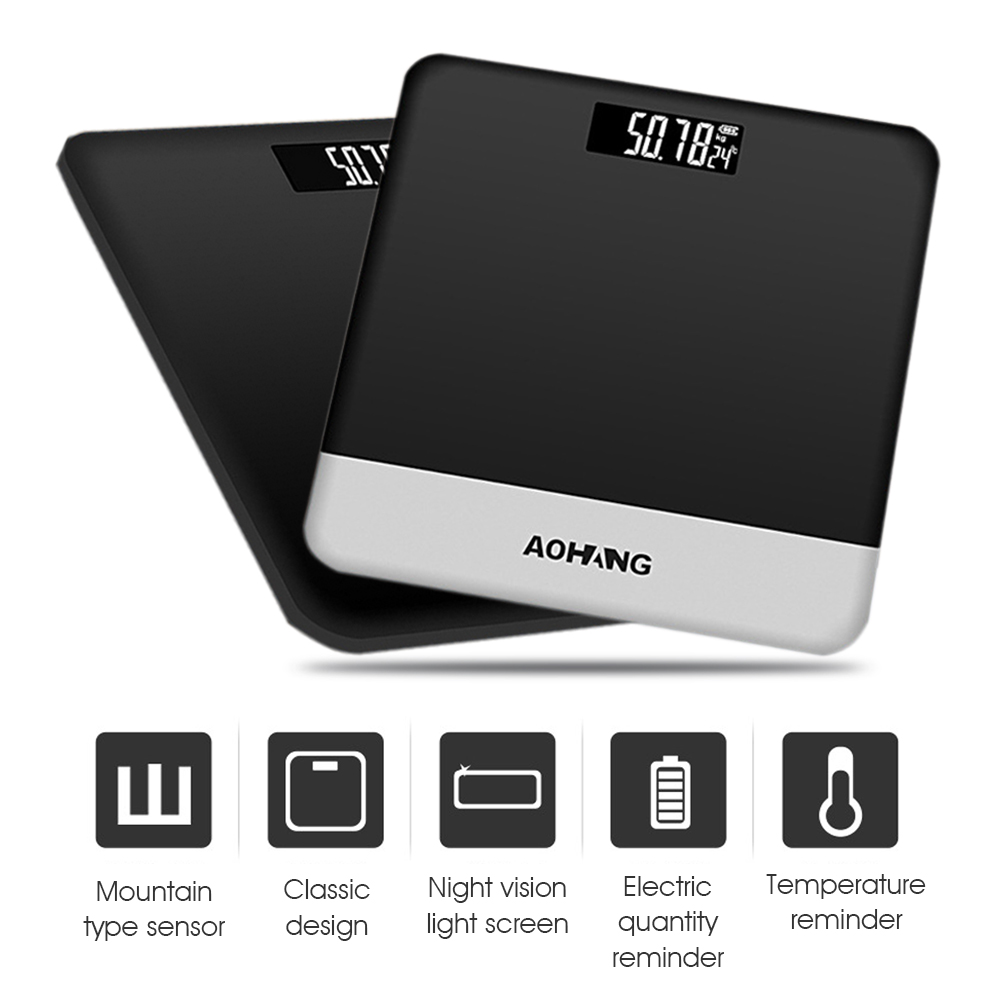 Holmark 190kg/420lb Body Fat Weight Bathroom Scale with Electronic LCD Digital+Tempered Glass Platform