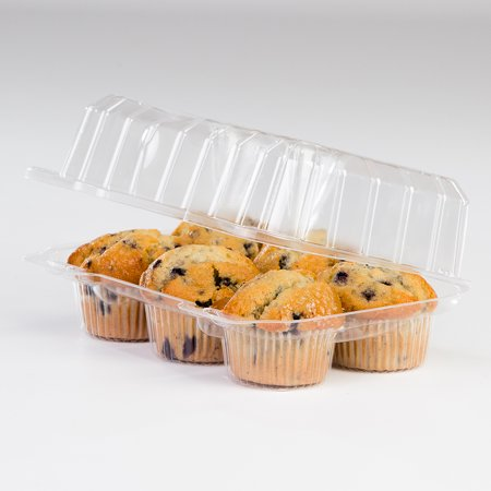 Plastic Cupcake Boxes (Detroit Forming LBH-6656 Six Compartment Clear OPS Plastic Hinged Locking Muffin Cupcake Food Container, 9.5