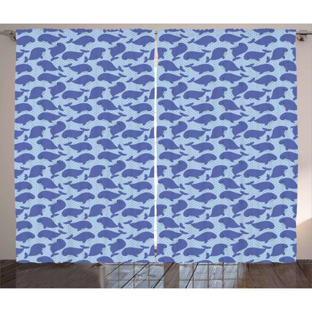 Whale Curtains 2 Panels Set, Pattern with Cute Cartoon Whales Shoal on Blue Background with Polka Dots, Window Drapes for Living Room Bedroom, 108W X 96L Inches, Violet Blue Pale Blue, by Ambesonne