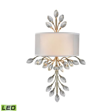 Asbury 2-Light Sconce in Aged Silver with Organza and White Fabric Shade - Includes LED