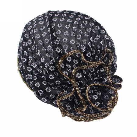 Women Flower Cancer Chemo Hat Beanie Scarf Turban Head Wrap Cap BK (Horse Head Hat)