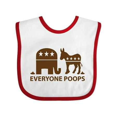 Everyone Poops Donkey Elephant Baby Bib White/Red One
